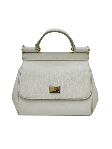 WHITE LEATHER MINI MISS SICILY BAG (RESERVED)