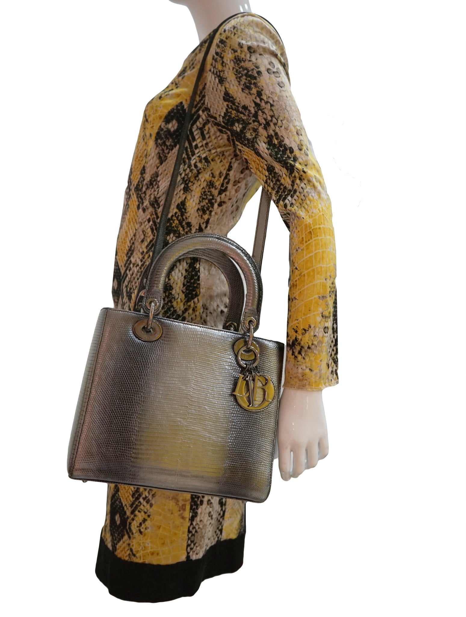 GLAZED LIZARD LEATHER LADY DIOR BAG