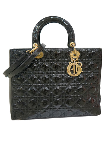 PATENT LEATHER LARGE LADY DIOR TOTE
