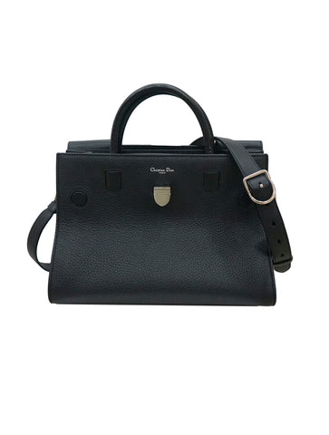 BLACK PEBBLED LEATHER DIOREVER BAG