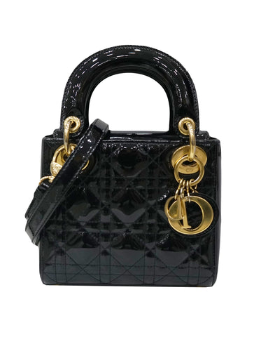 BLACK PATENT CLASSIC LADY DIOR BAG