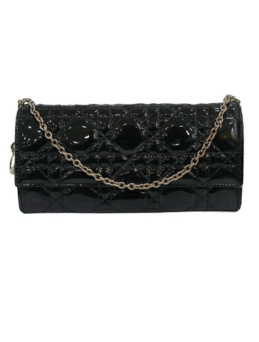 CANNAGE PATENT LEATHER LADY DIOR CLUTCH