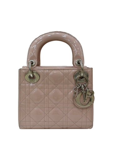 LIGHT PINK PATENT LEATHER LADY DIOR BAG