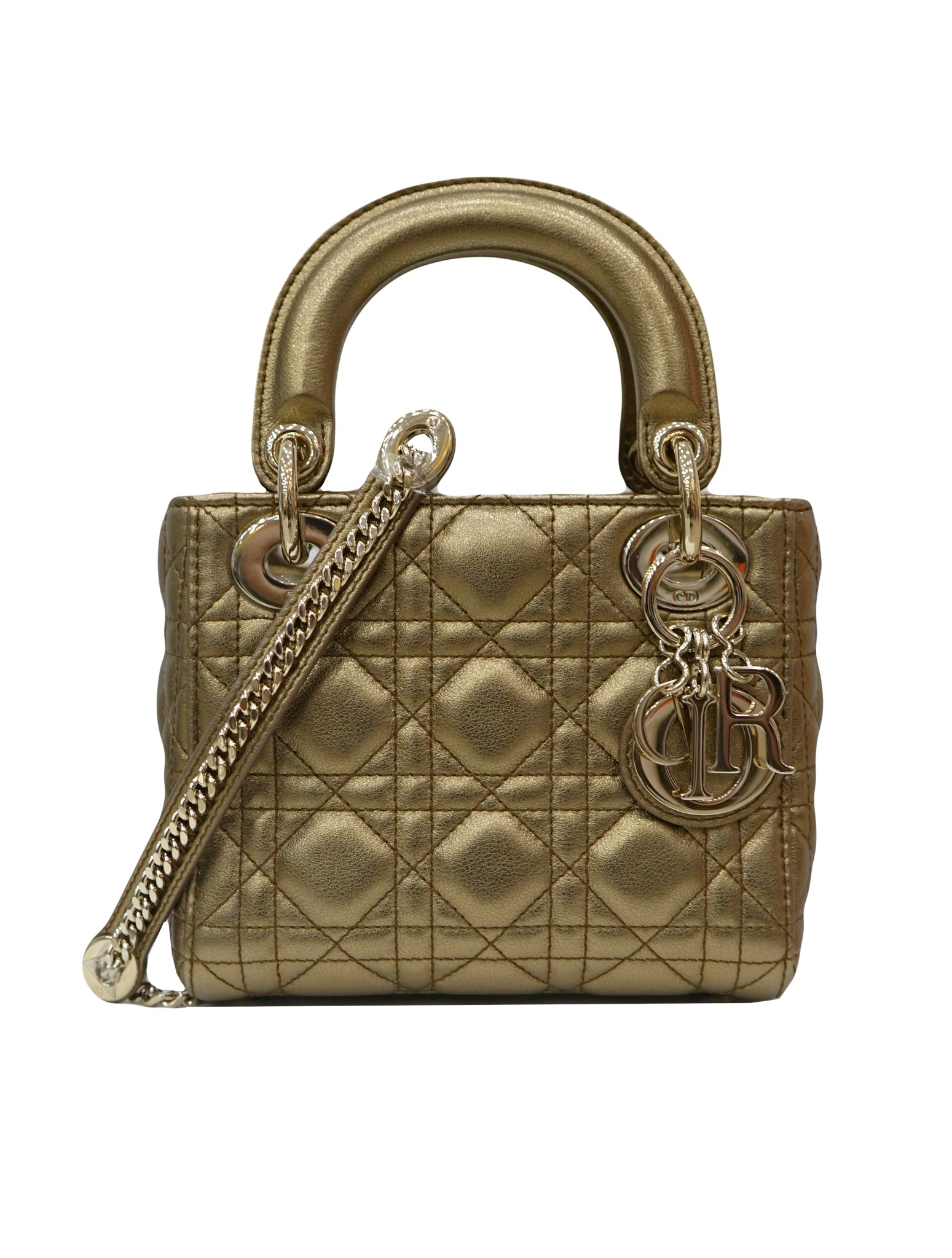 METALLIC GOLD LADY DIOR LAMBSKIN BAG