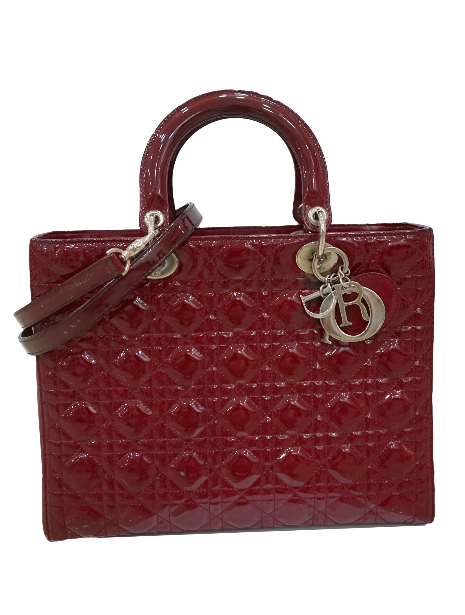 RED PATENT LEATHER LARGE LADY DIOR TOTE