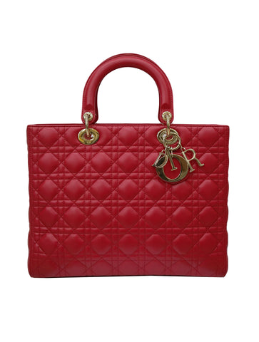 RED LEATHER LADY DIOR TOP HANDLE BAG