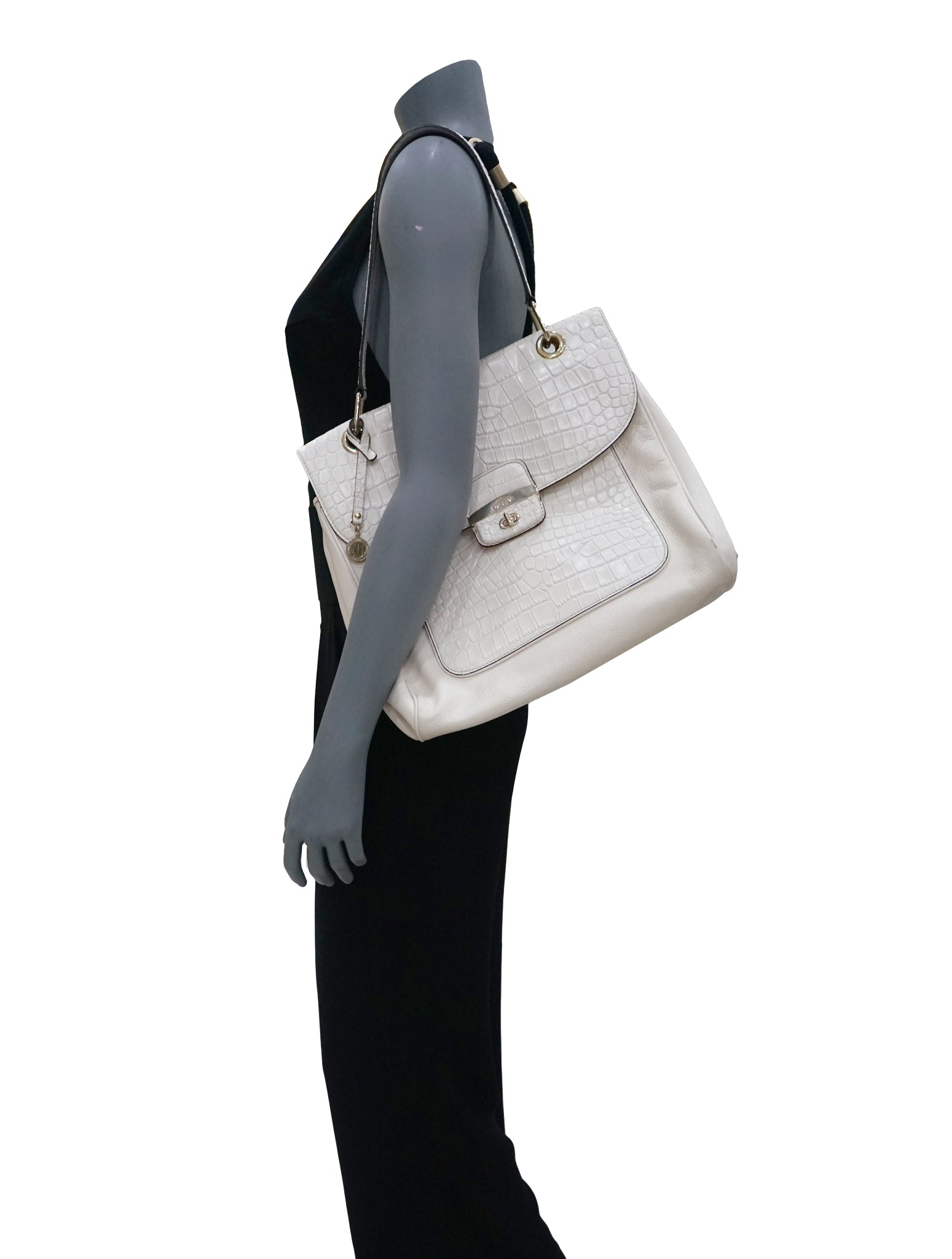 WHITE CROCODILE EMBOSSED LEATHER TOTE