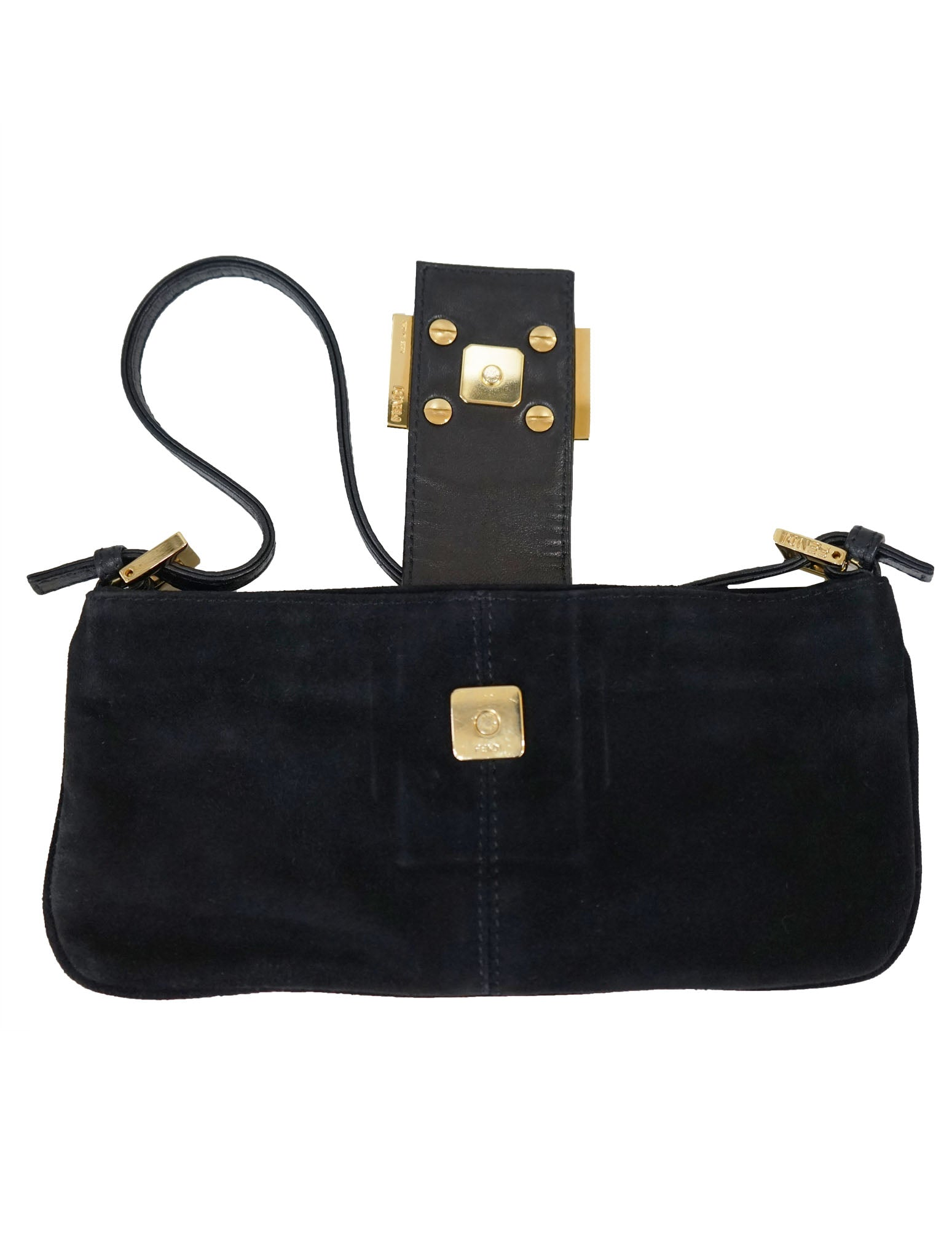 BLACK SUEDE BAGUETTE SHOULDER BAG - kidsstyleforless