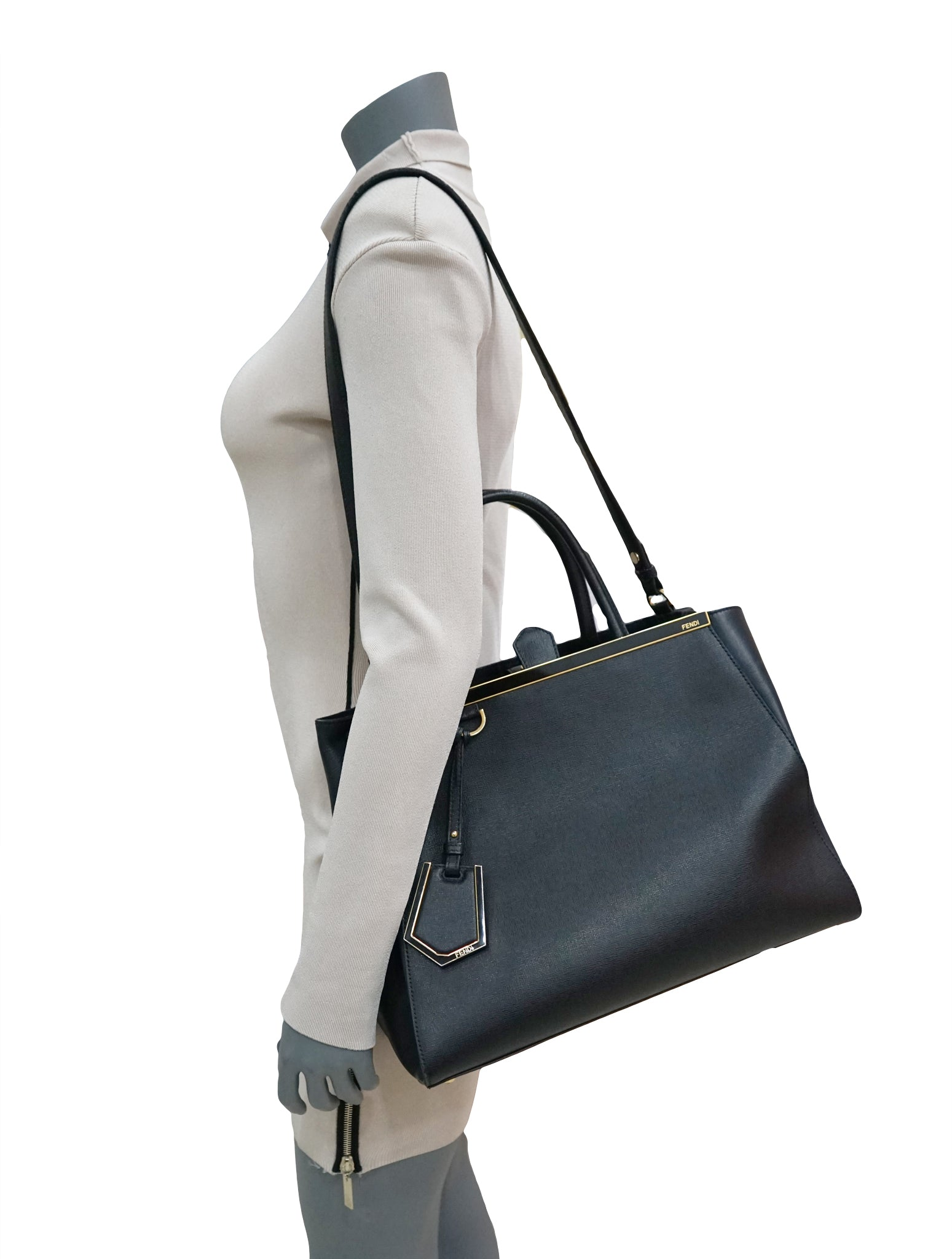BLACK TEXTURED LEATHER 2JOURS TOTE