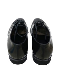BLACK LEATHER LACE UP OXFORDS SHOES