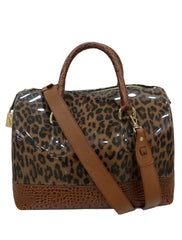 LEATHER RUBBER CANDY LEOPARD SATCHEL