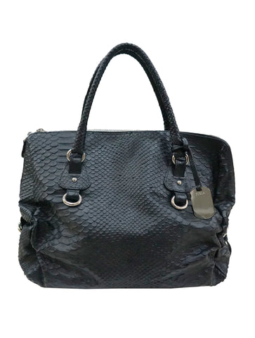BLACK SNAKE EMBOSSED TOTE BAG