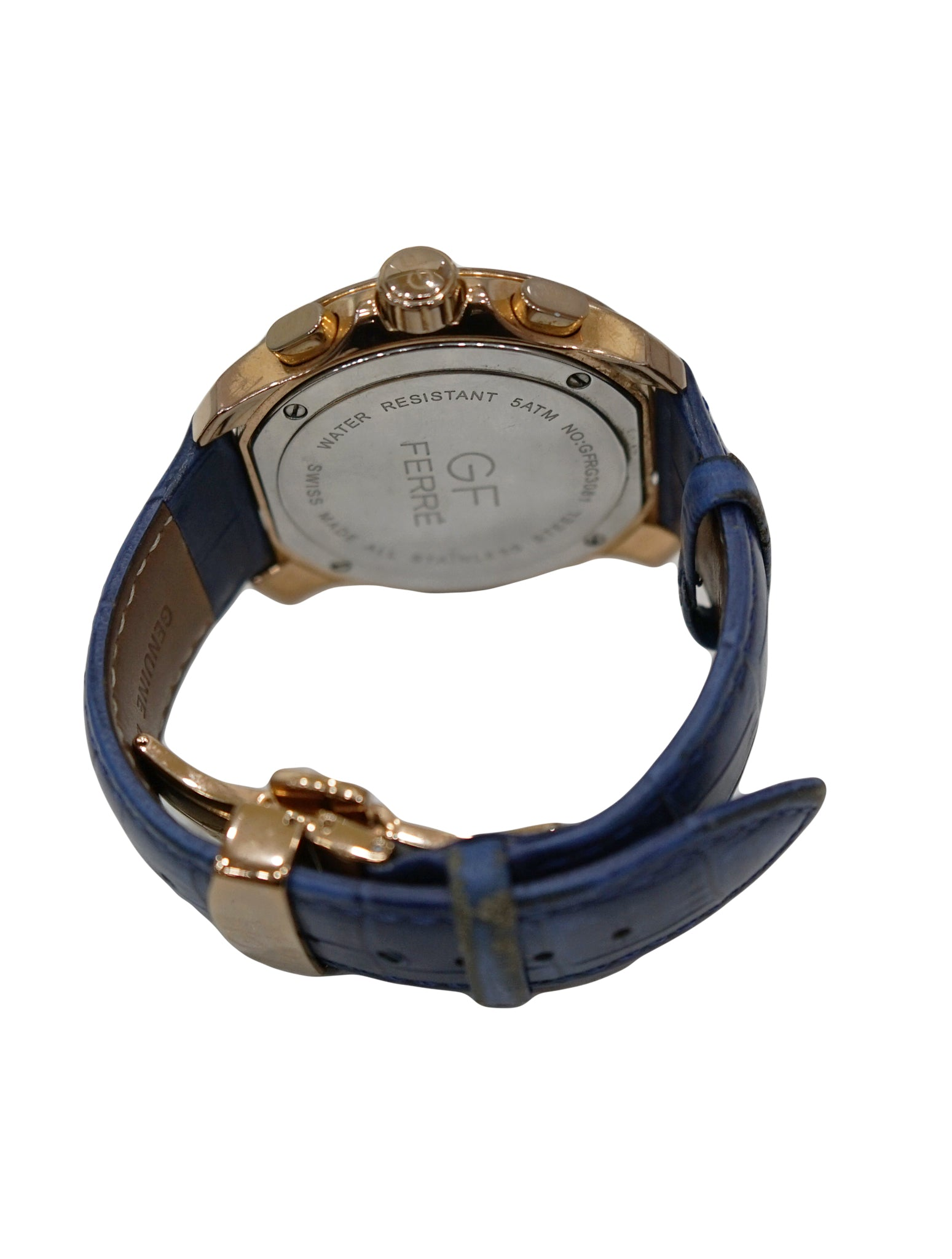 BLUE LEATHER STAINLESS STEEL WATCH