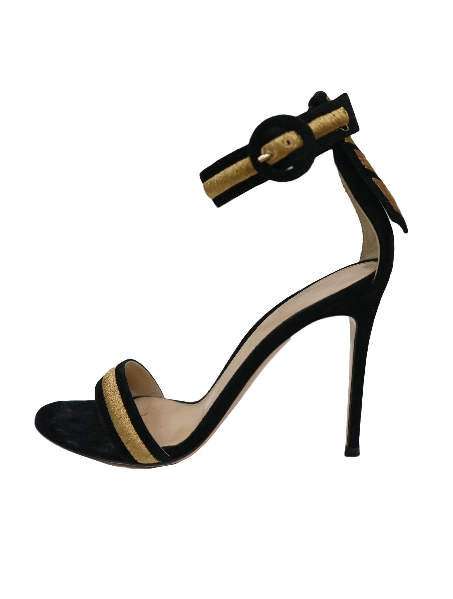 SUEDE MARSHAL ANKLE STRAP SANDALS