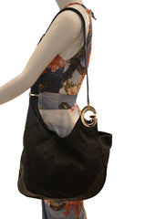 LEATHER AND CANVAS HOBO BAG
