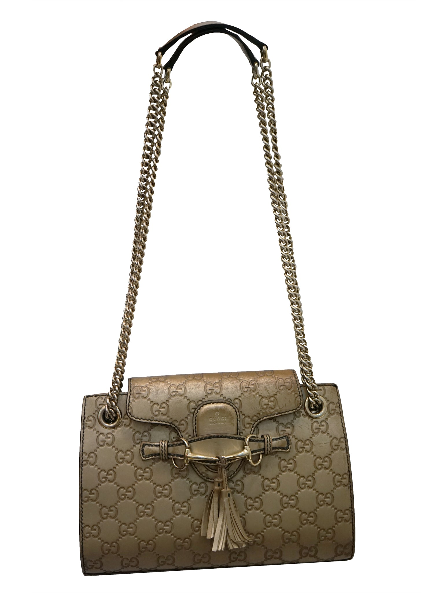 METALLIC GUCCISSIMA LEATHER EMILY CHAIN