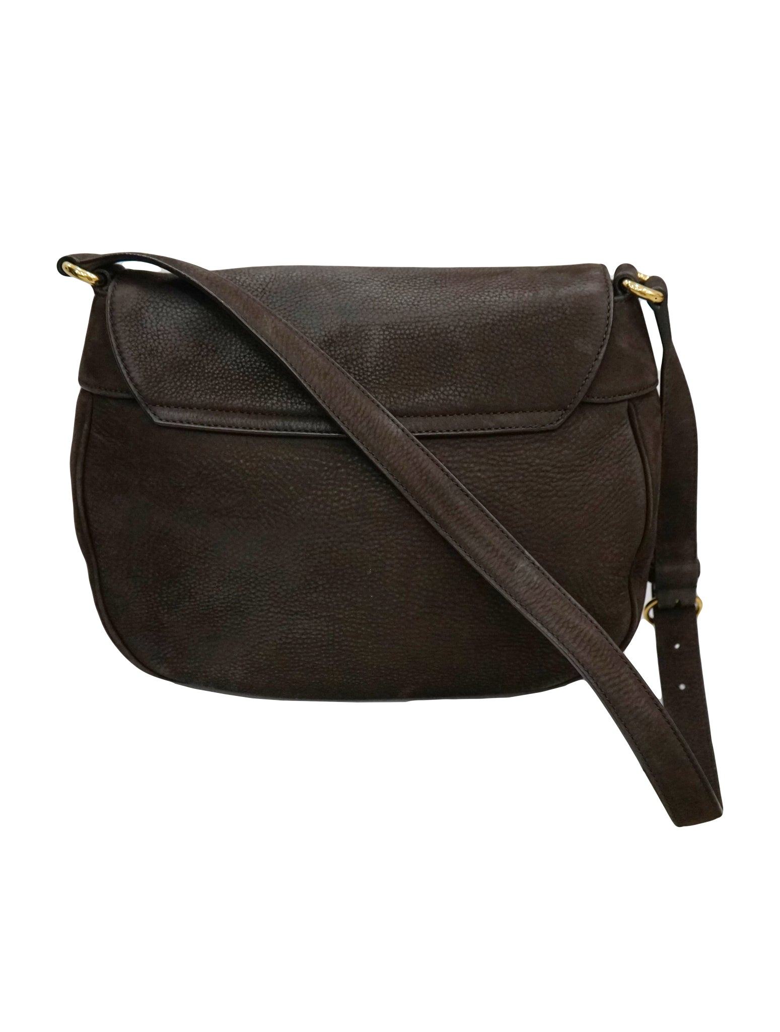 NUBUCK LEATHER RIBOT HORSE HEAD FLAP BAG
