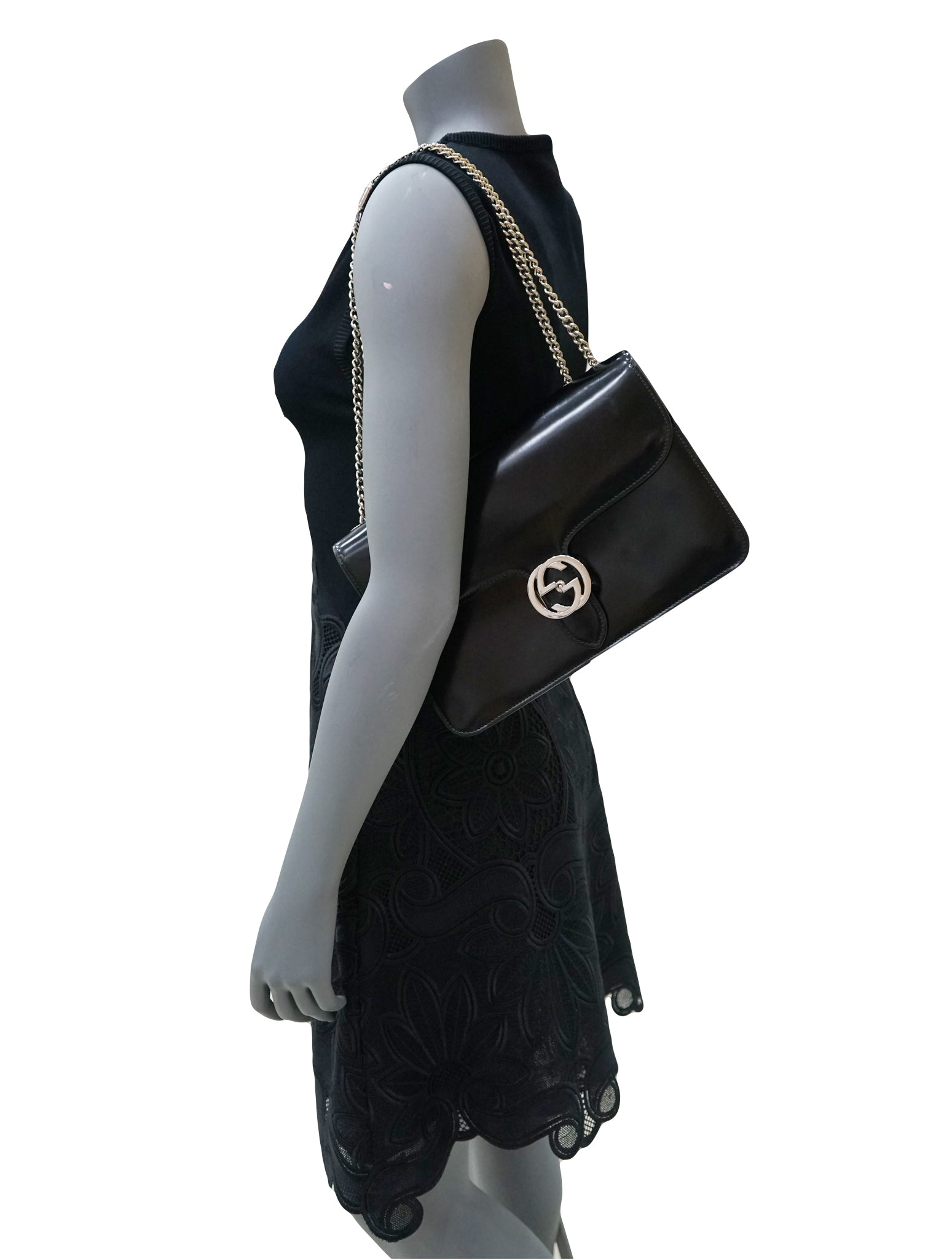 PATENT GG INTERLOCKING SHOULDER BAG