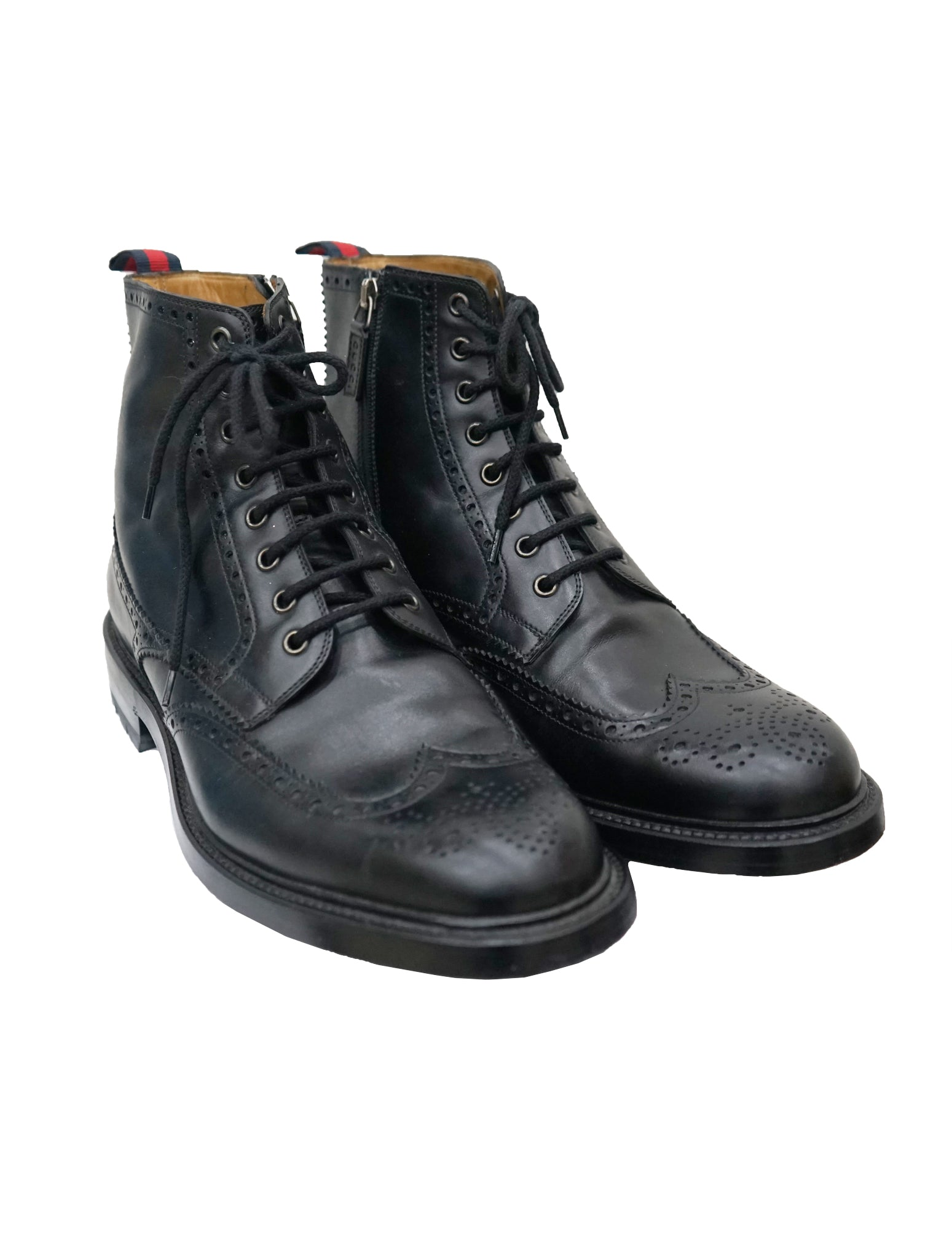 BLACK LEATHER BROGUE LACE UP BOOTS