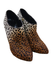 LEOPARD PRINT CALK HAIR ANKLE BOOTS