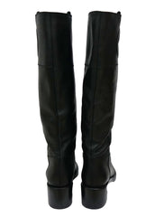 BLACK NEW LEATHER KNEE INTERLOCKING BOOTS