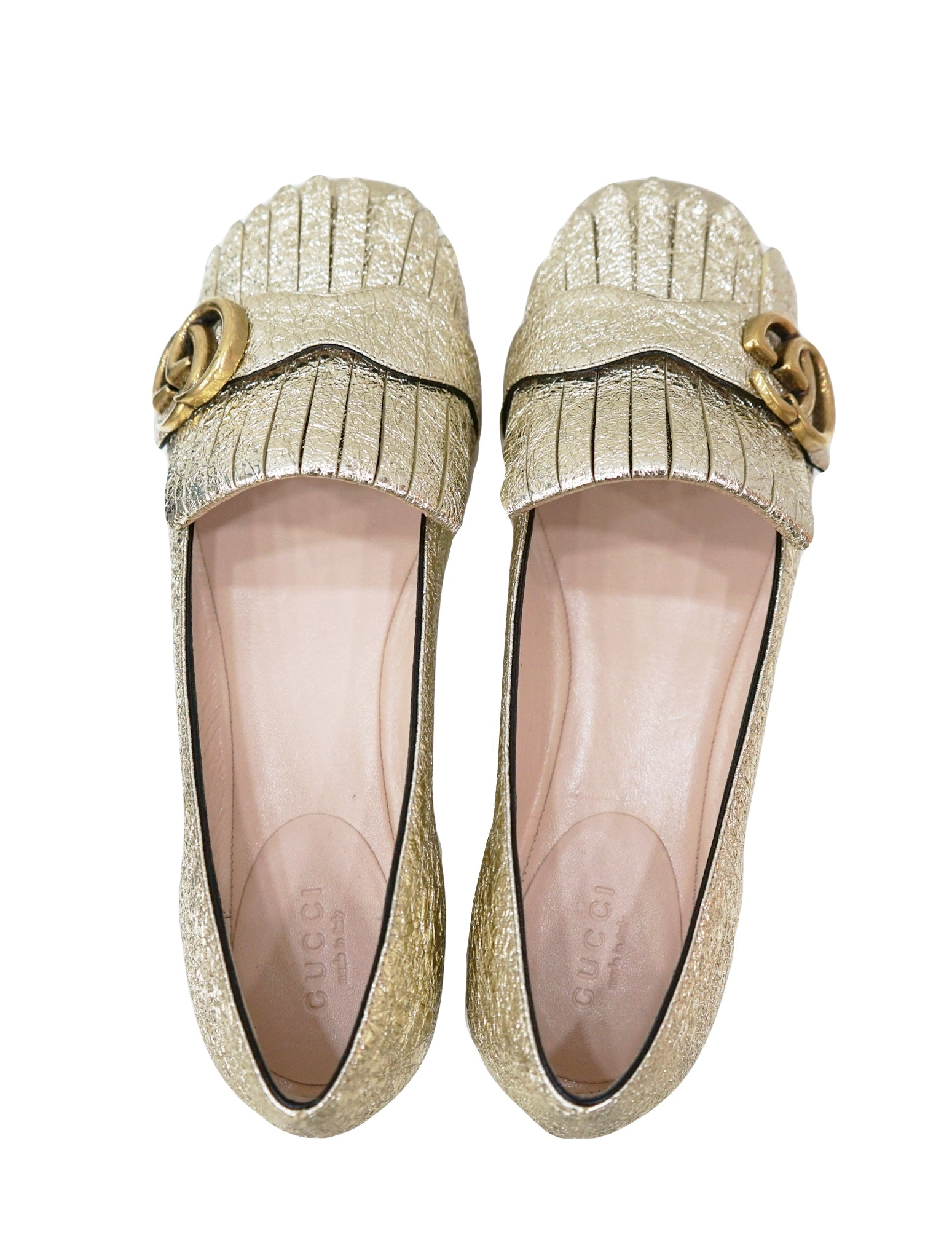 FOIL LEATHER GG MARMONT FRINGE FLATS