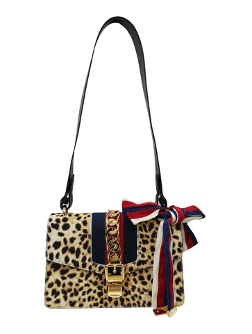 SYLVIE LEOPARD HAIRCALF & LEATHER TOTE