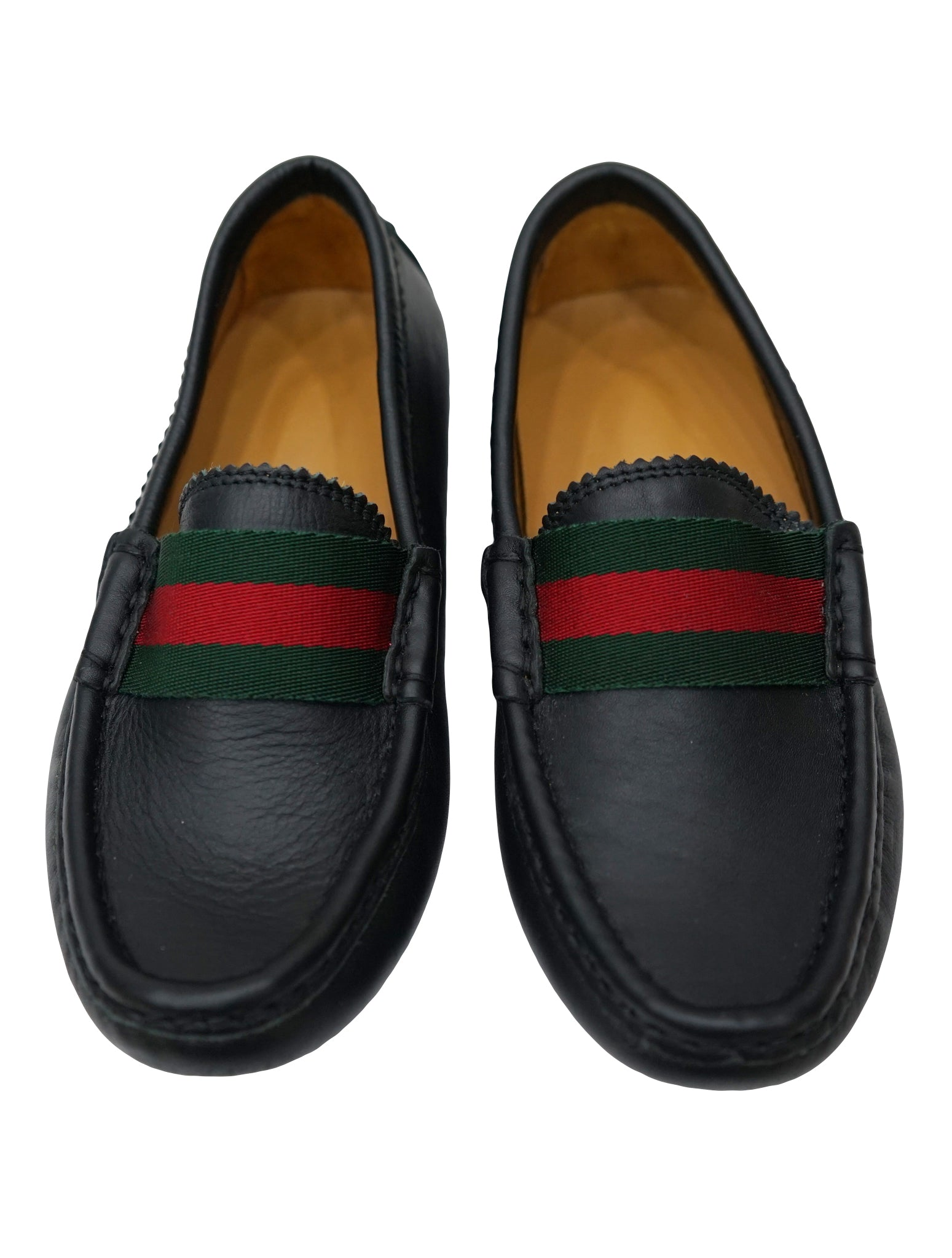 BLACK LEATHER WEB DETAIL LOAFERS SHOES