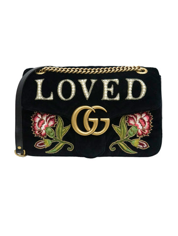 MARMONT EMBROIDERED VELVET LOVED BAG