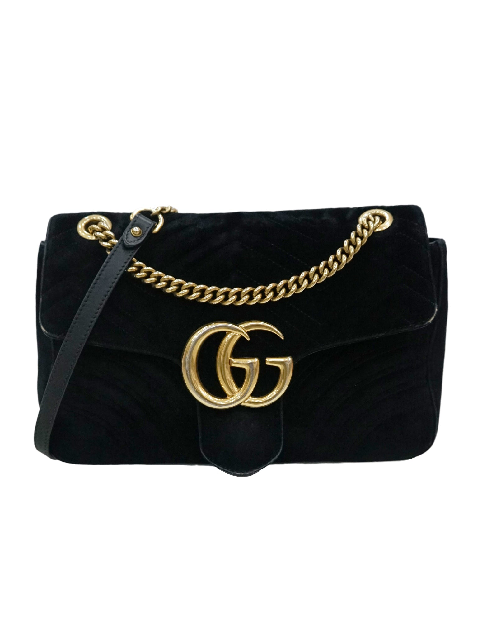 fd409ce7b GUCCI GG MARMONT BLACK VELVET SHOULDER BAG – Kidsstyleforless