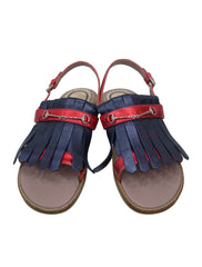 RED BLUE METALLIC LEATHER FRINGE SANDALS