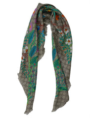 FRAYED PRINT MODAL AND SILK BLEND SCARF