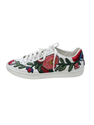 FLORAL EMBROIDERED LEATHER ACE SNEAKERS