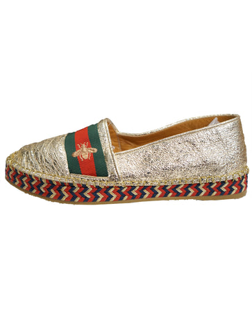 BEE METALLIC LAMINATE LEATHER WEB ESPADRILLES