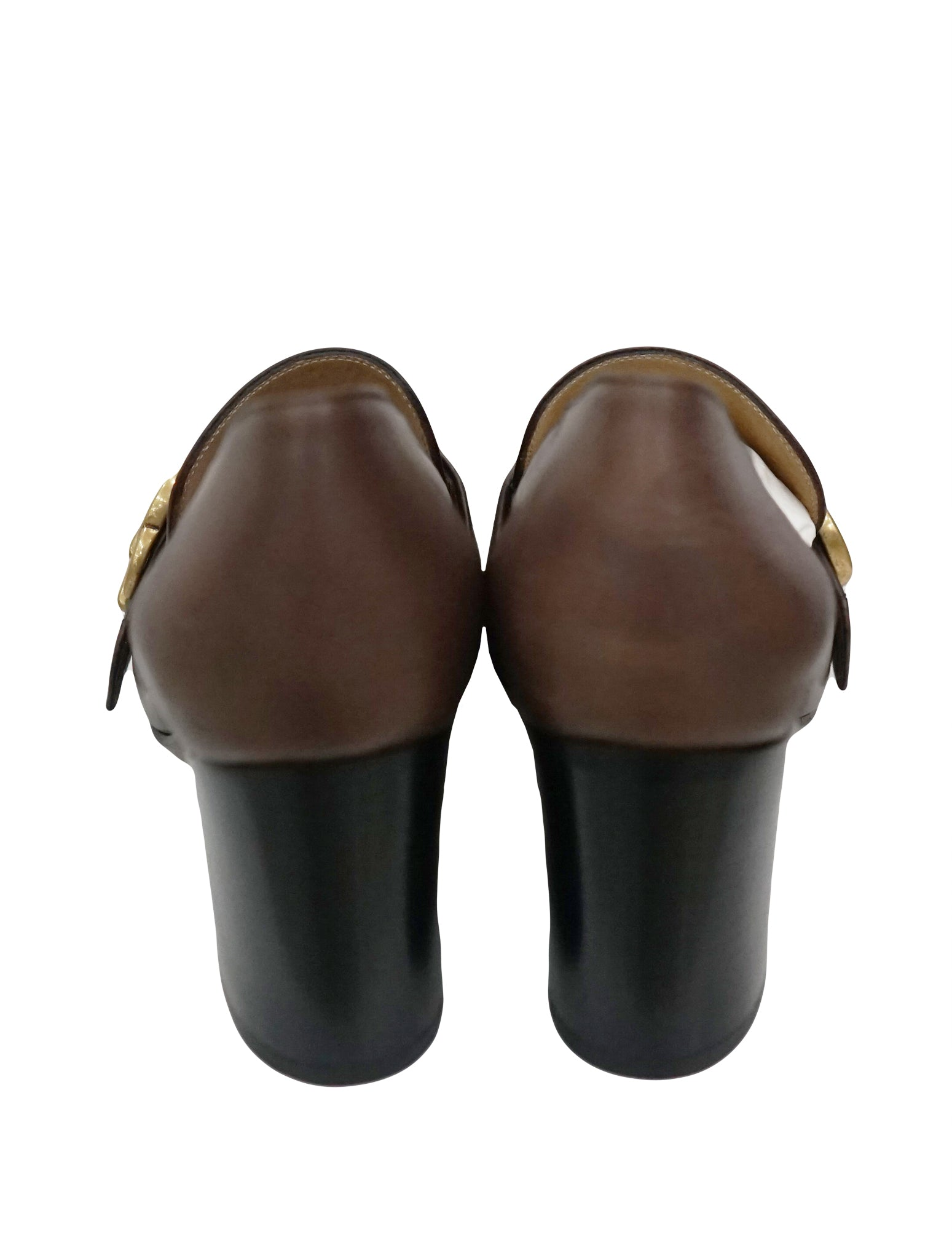 LEATHER MID-HEEL LOAFER SHOES