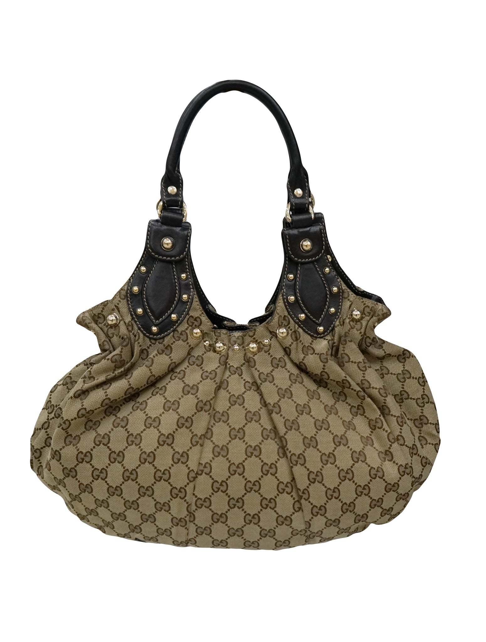 345955eea3f0 GUCCI STUDDED GG CANVAS PELHAM SHOULDER BAG – Kidsstyleforless
