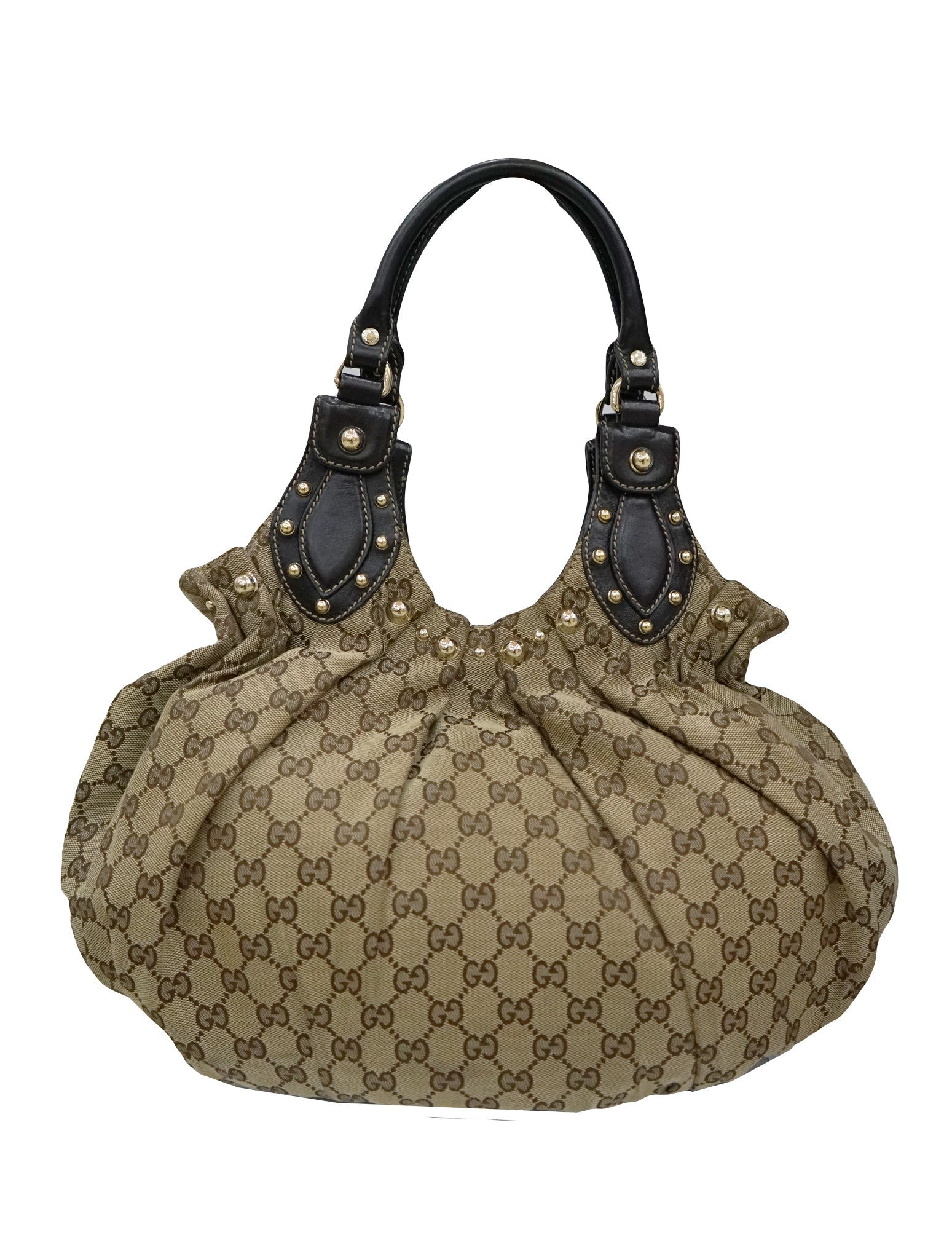 6a1c8caa29a GUCCI STUDDED GG CANVAS PELHAM SHOULDER BAG – Kidsstyleforless