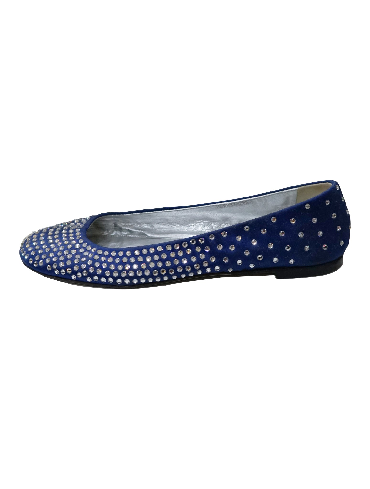 BLUE SATIN CRYSTAL STUDDED BALLET FLATS