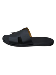 BLACK LEATHER IZMIR FLAT SANDALS