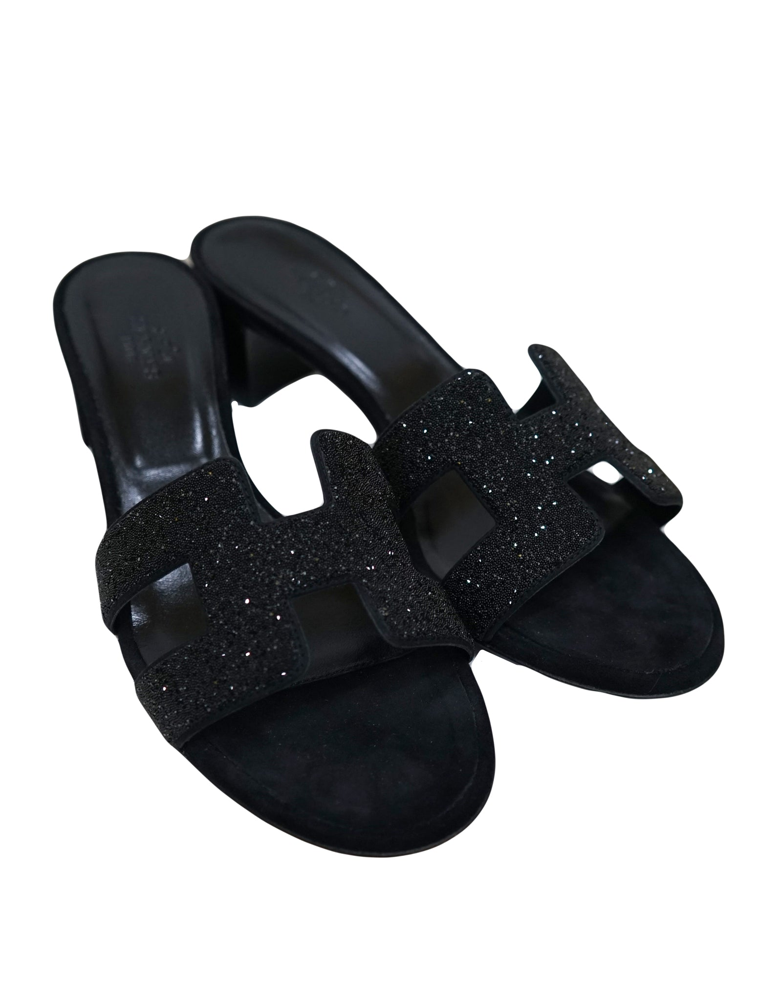 BLACK ORAN OASIS CRYSTAL SANDALS