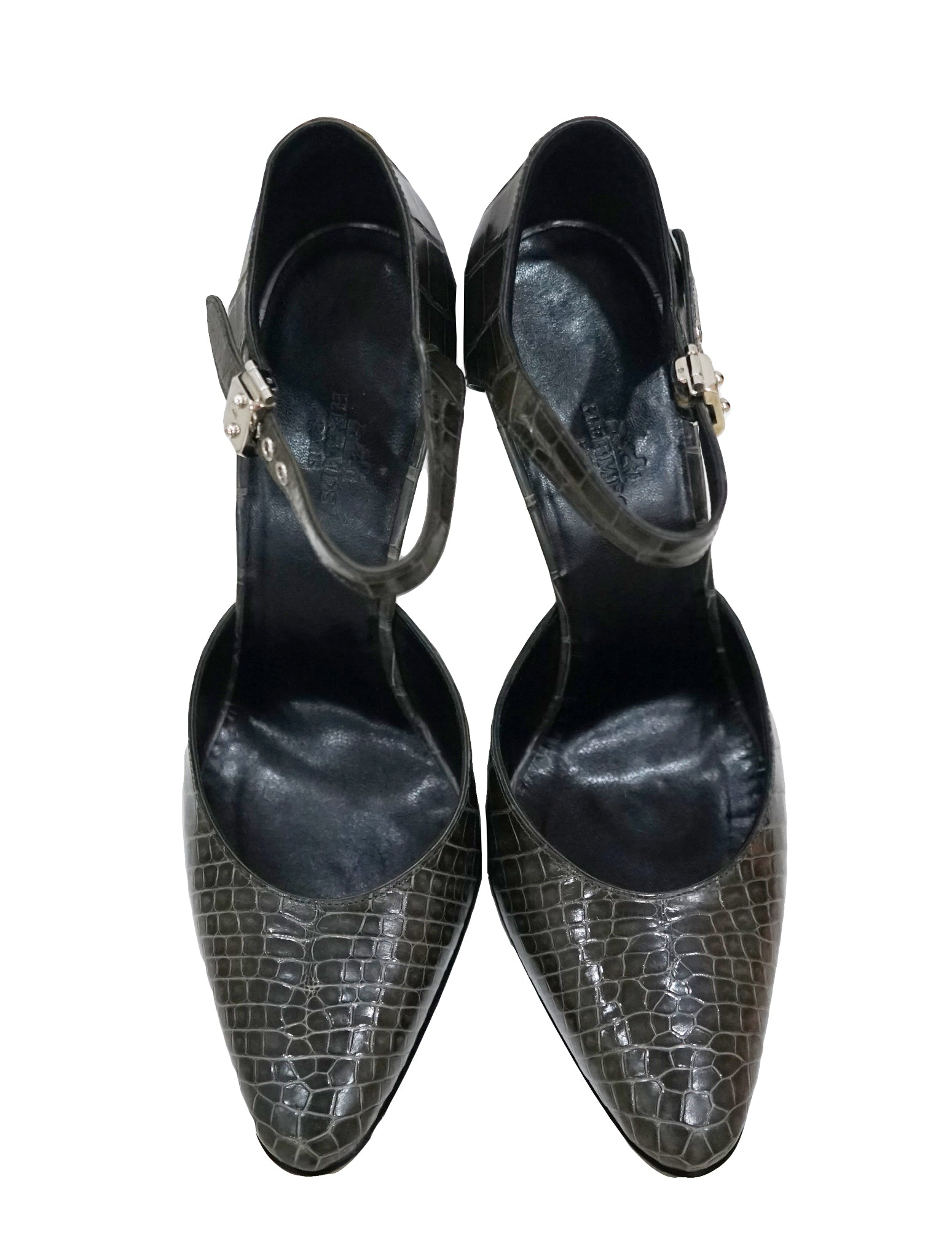 WOMEN'S DARK GRAY CROCODILE HEELS