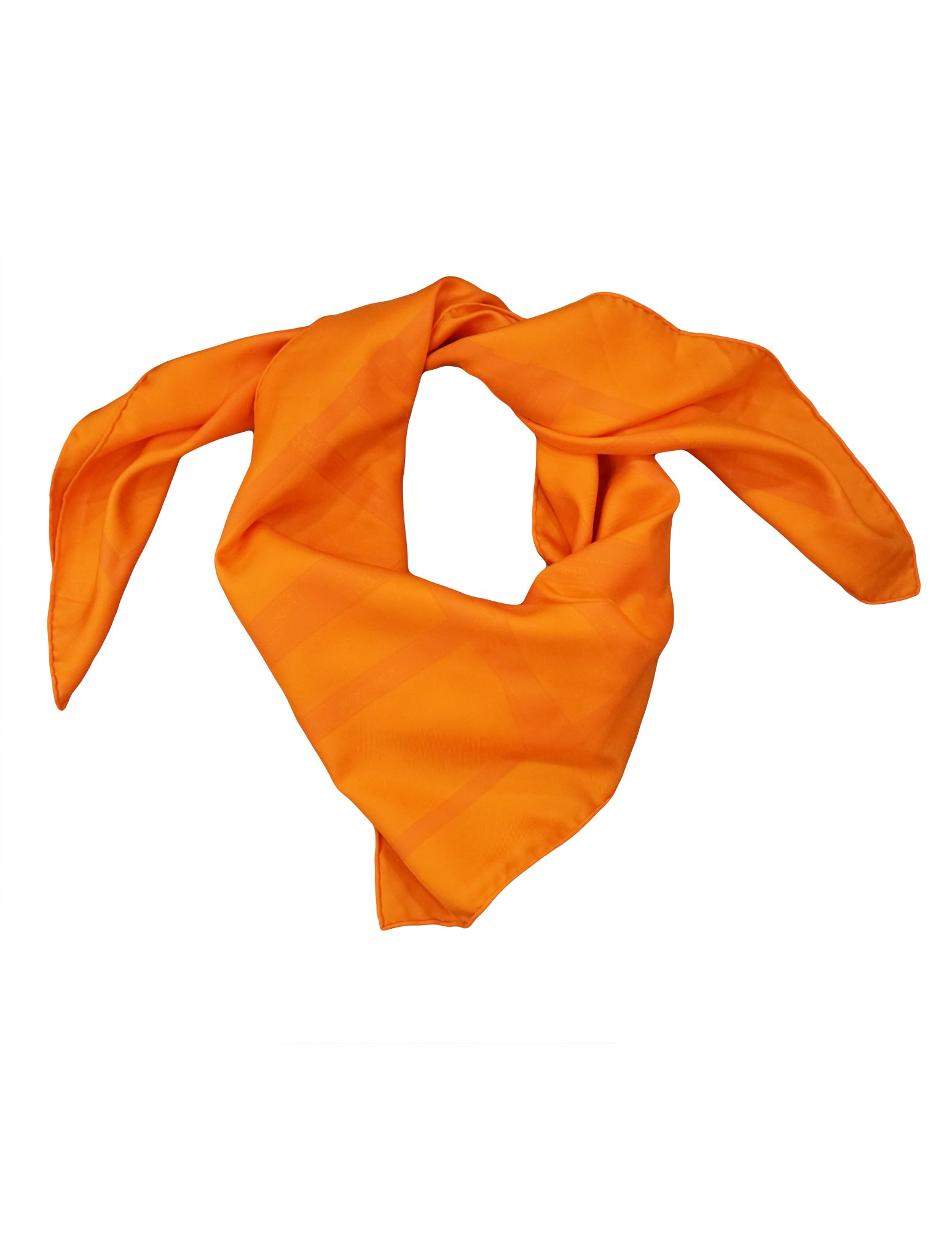 ORANGE RIBBON PRINT SQUARE SILK SCARF