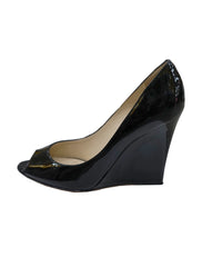 BLACK PATENT BELLO PEEP TOE WEDGES