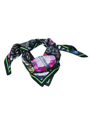 DIAMOND AND CRYSTAL PRINT SILK SCARF
