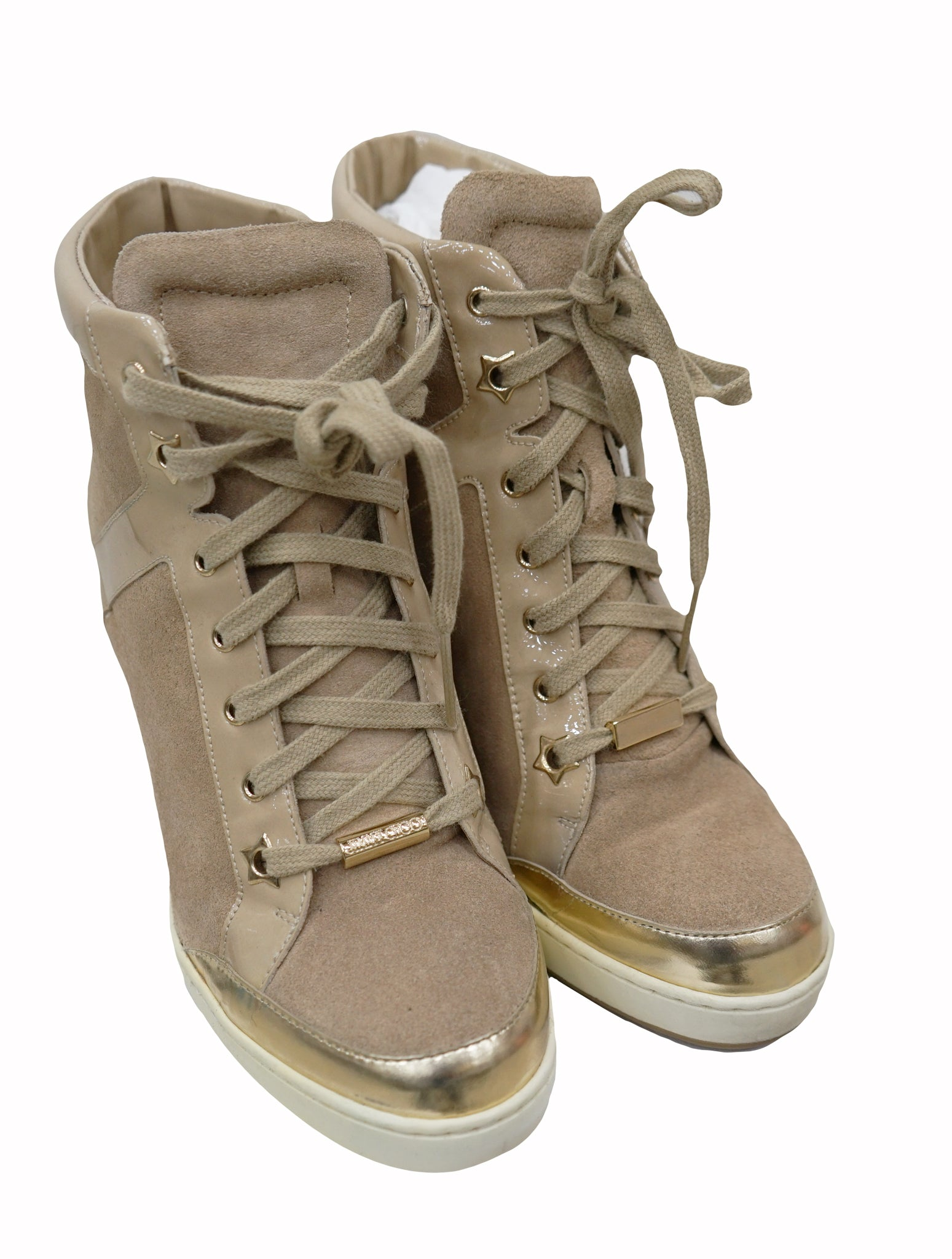 BEIGE PRESTON WEDGE HI-TOP SNEAKERS