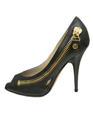 PEEP TOE PUMPS WITH ZIPPER TRIMS