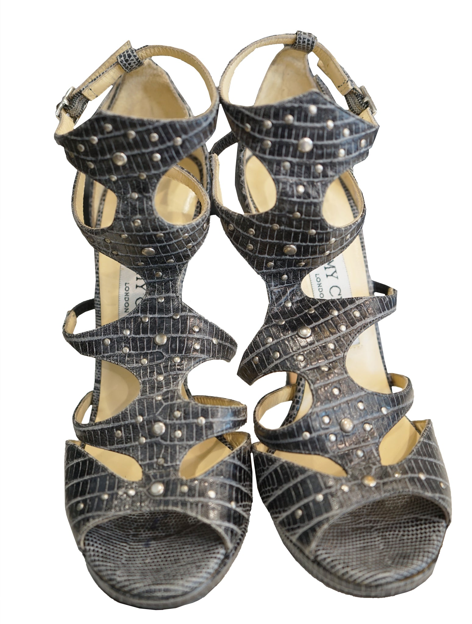 MOSTYN LIZARD EMBOSSED STUDDED SANDALS