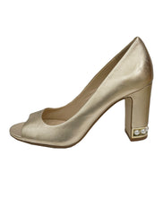 GOLD METALLIC LEATHER PEARL SHOES