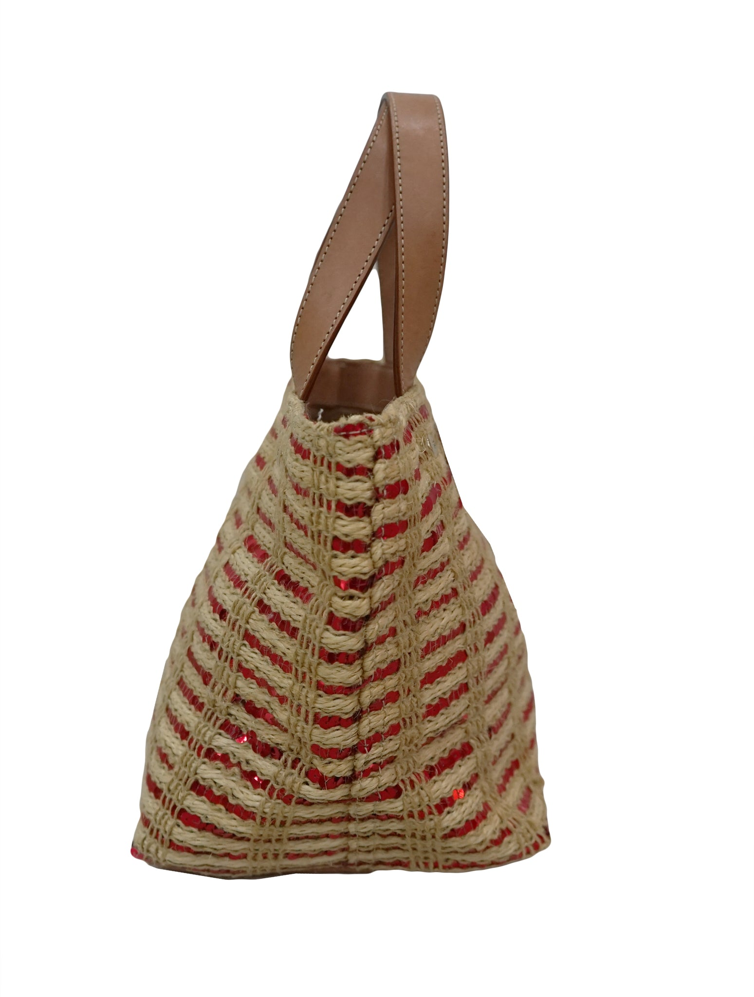 SEQUINS STRAW MINI TOTE BAG