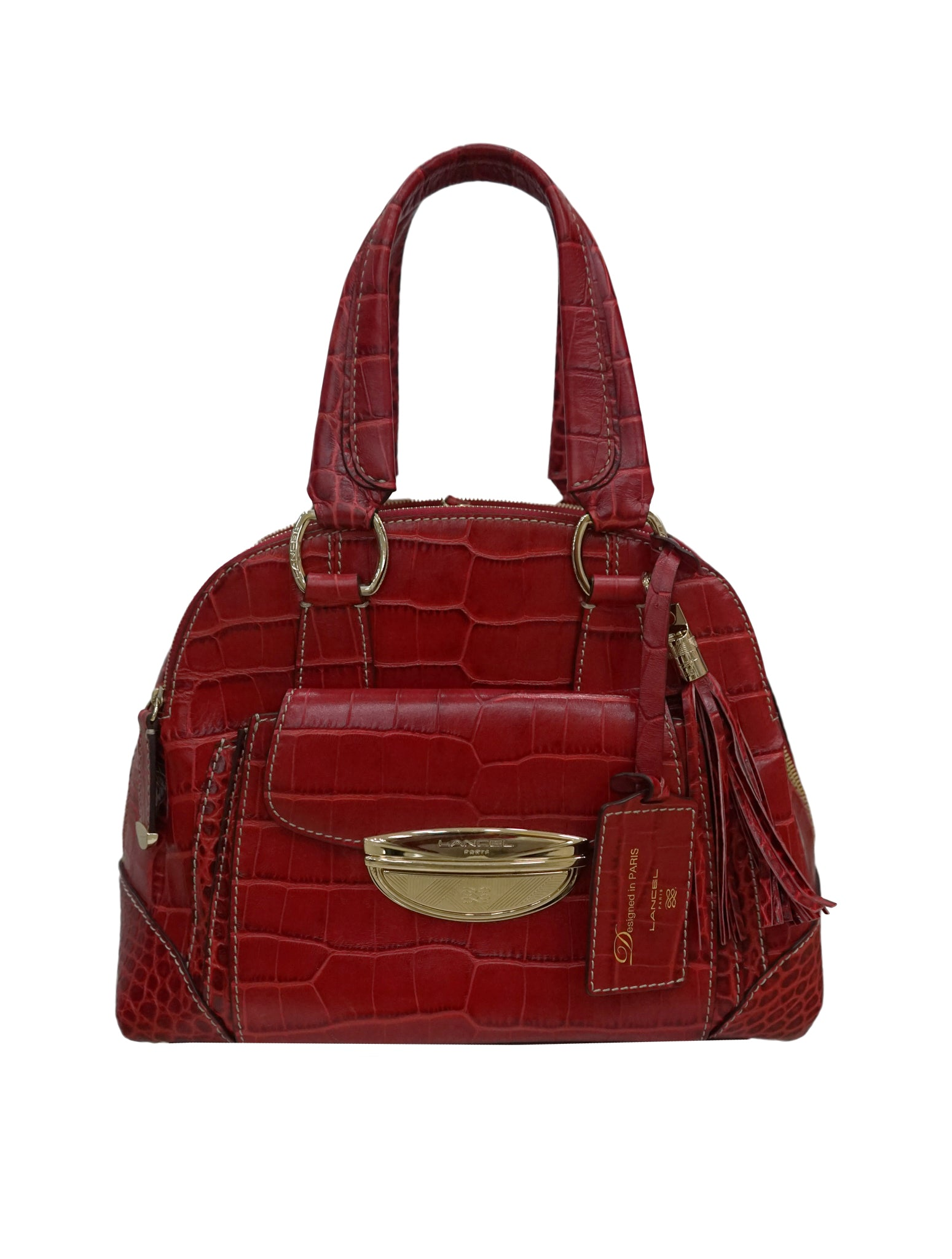 RED EMBOSSED LARGE ADJANI SATCHEL
